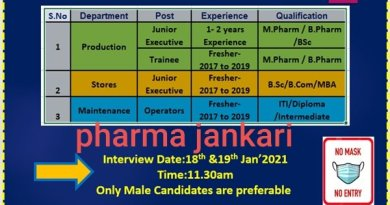 VITAL PHARMA Walk in Interviews for Production stores dep on 18th and 19th jan 2021