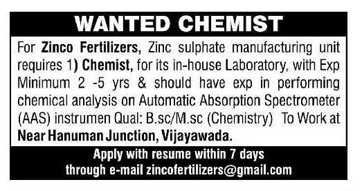 Zinco Fertilizers Urgent Openings for Chemist Apply Now