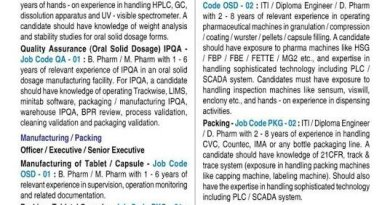 Zydus Cadila WalkIn Interviews for Multiple Positions in QC QA Manufacturing Packing on 10th Jan 2021
