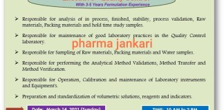 Casper pharma Walk in Interview for Quality Control Executive on 14th March 2021