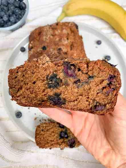 healthy banana blueberry crumb bread