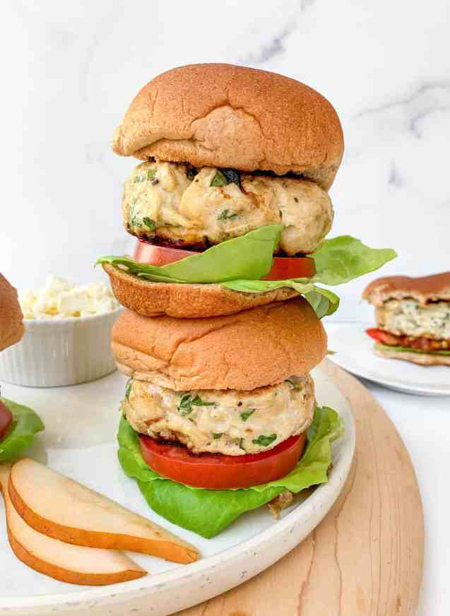 Healthy Pear Feta Turkey Burgers