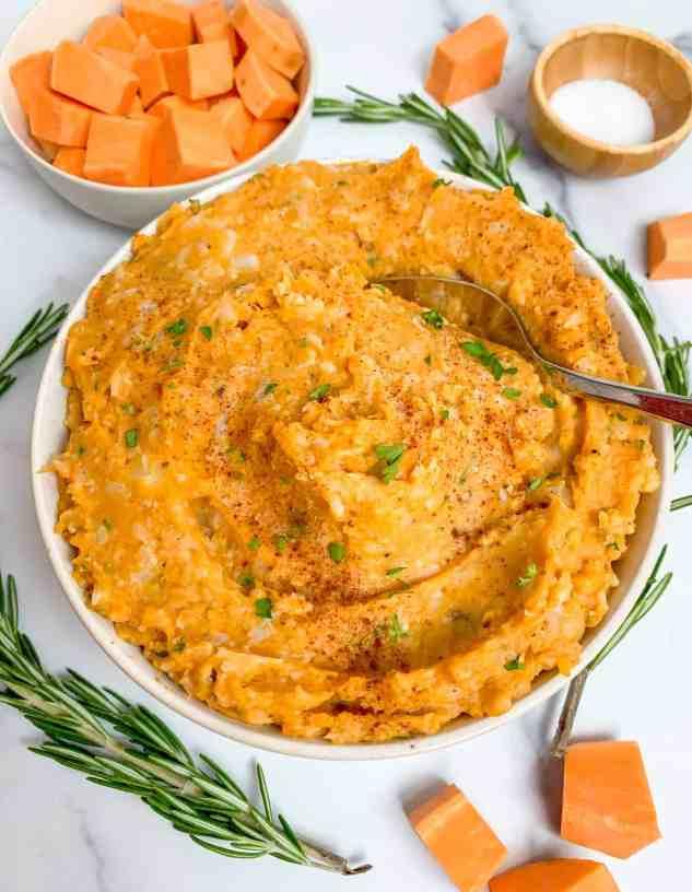 healthy sweet potato and cauliflower mash