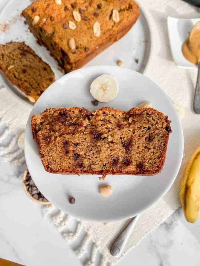 healthy peanut butter chocolate chip banana bread