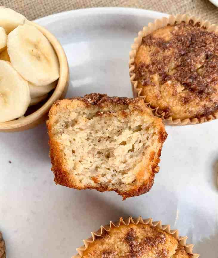 paleo cinnamon toast crumb muffins, cinnamon banana crumb muffins, healthy