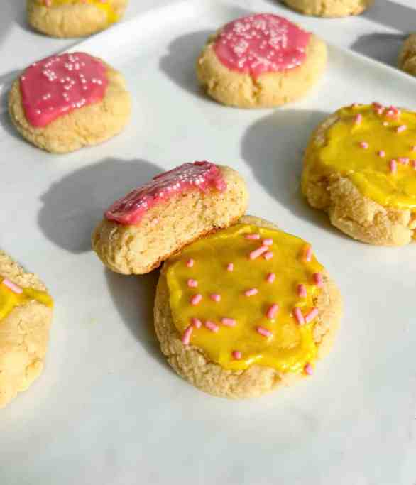Best ever healthy Lofthouse sugar cookies with glaze & sprinkles! The perfect soft sugar cookies recipe by Healthful Blondie.