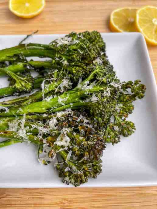 Healthy parmesan oven roasted broccolini - super tender - recipe by Healthful Blondie