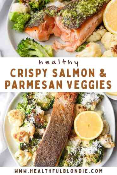The best ever crispy pesto salmon with parmesan roasted cauliflower and broccoli. The prefect healthy family dinner, meal prep, and protein packed meal. Recipe by Healthful Blondie.
