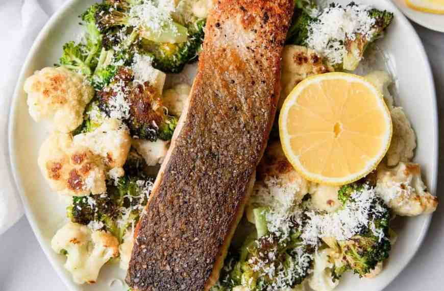 Crispy Salmon with Parmesan Roasted Cauliflower and Broccoli