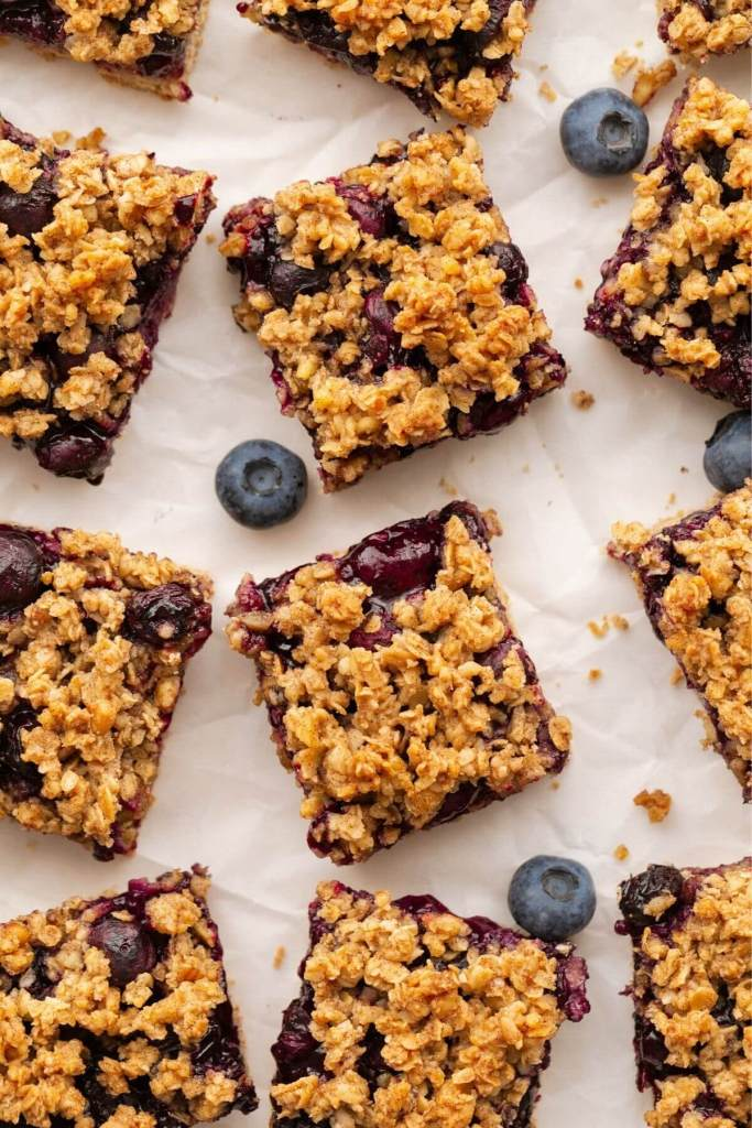 Healthy vegan blueberry crumble bars topped with buttery oat crisp.