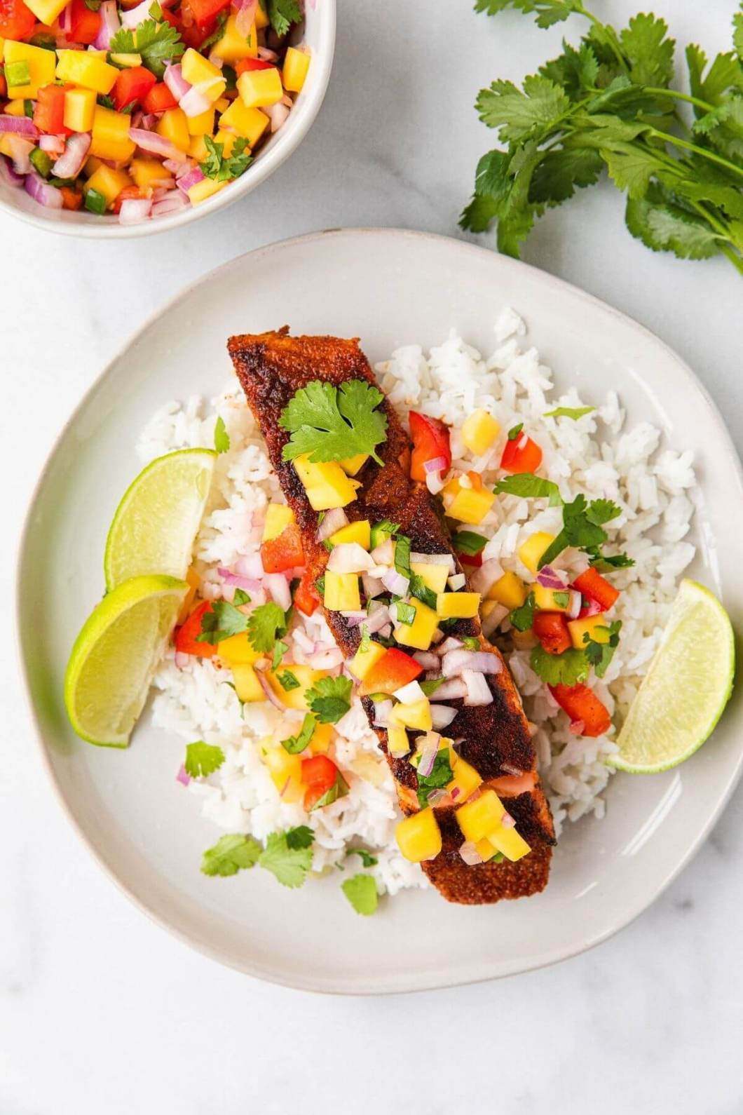 crispy pan seared blackened salmon with easy homemade mango salsa