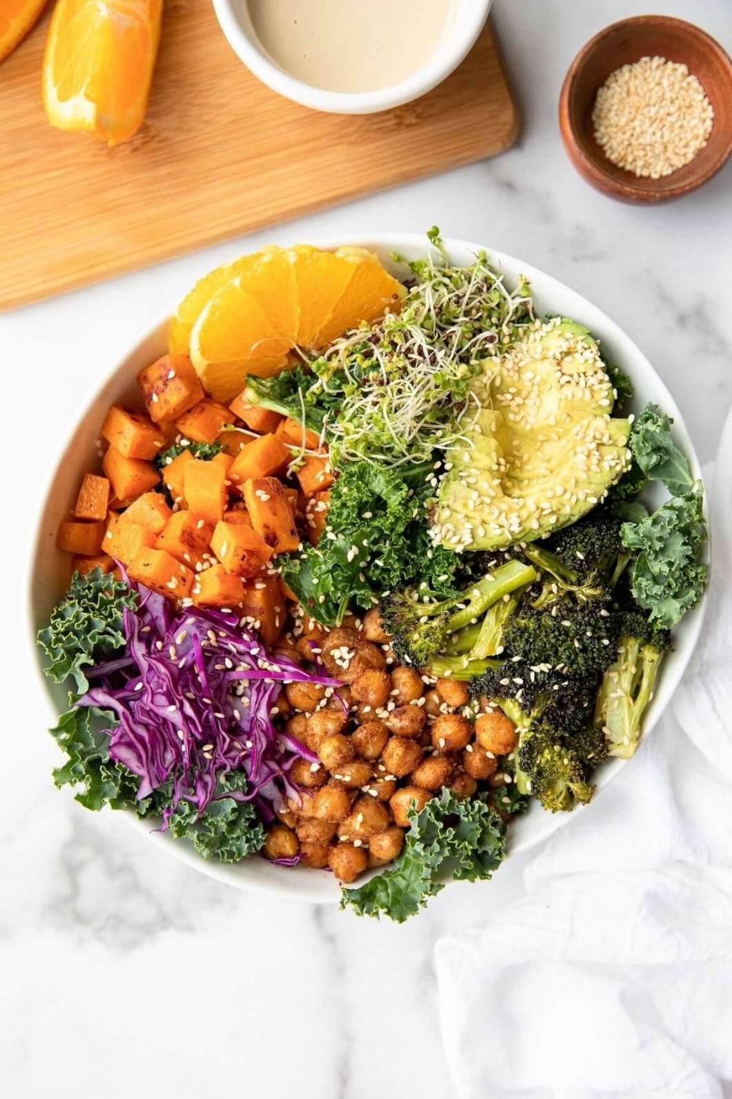 Orange tahini sweet potato buddha bowl