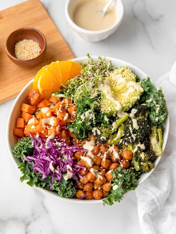 buddha bowl recipe with sweet potato, broccoli, and chickpeas