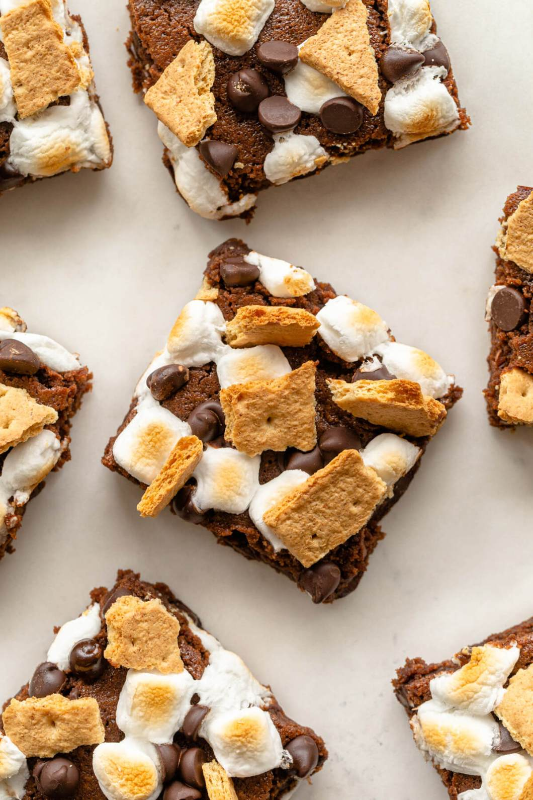 paleo s'mores brownies with toasted marshmallows and graham crackers