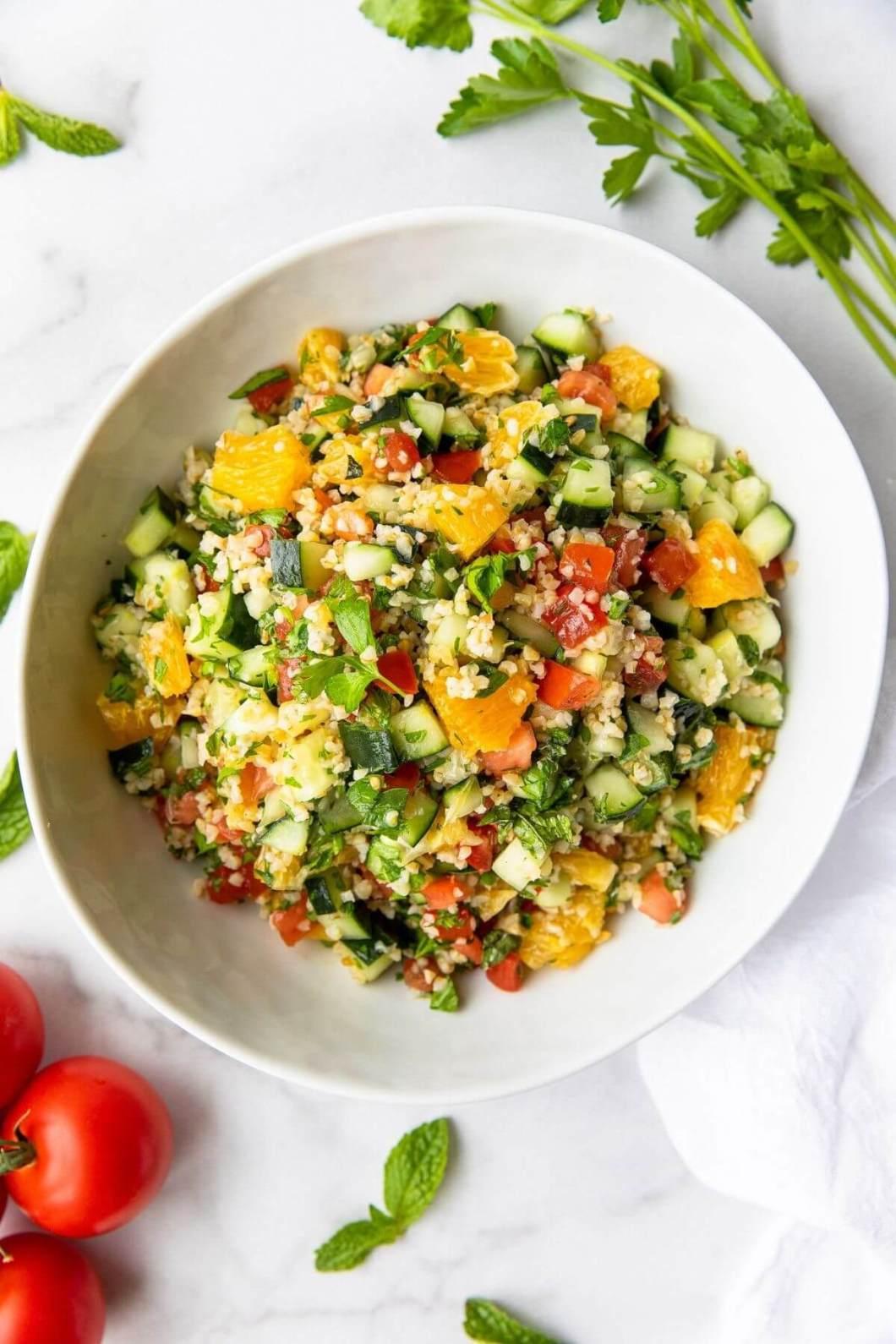 Healthy orange tabbouleh salad