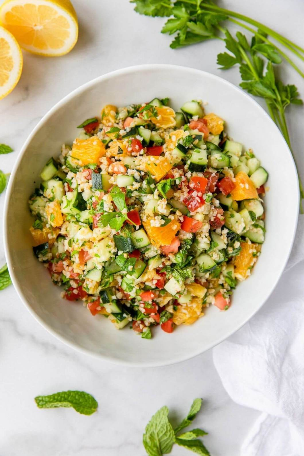 easy tabouli salad with fresh tomato and parsley