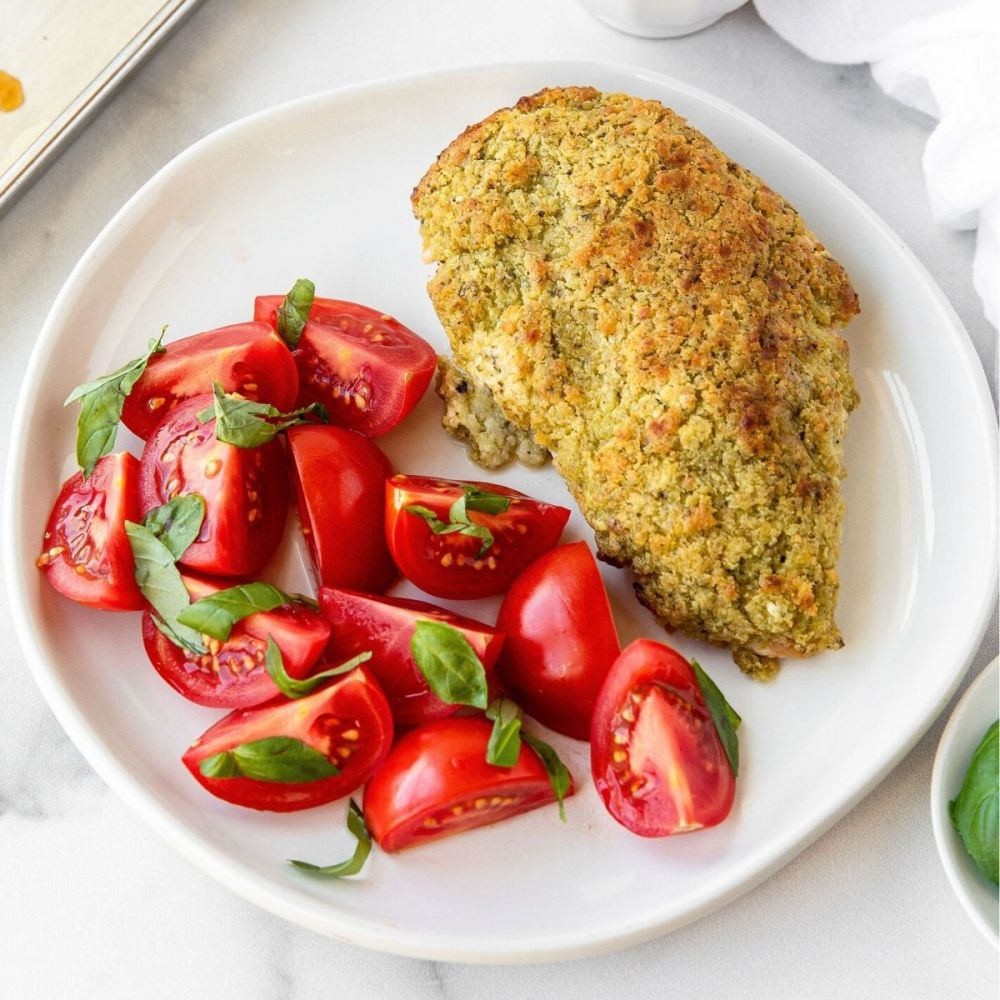 Healthy crispy goat cheese and pesto crusted chicken