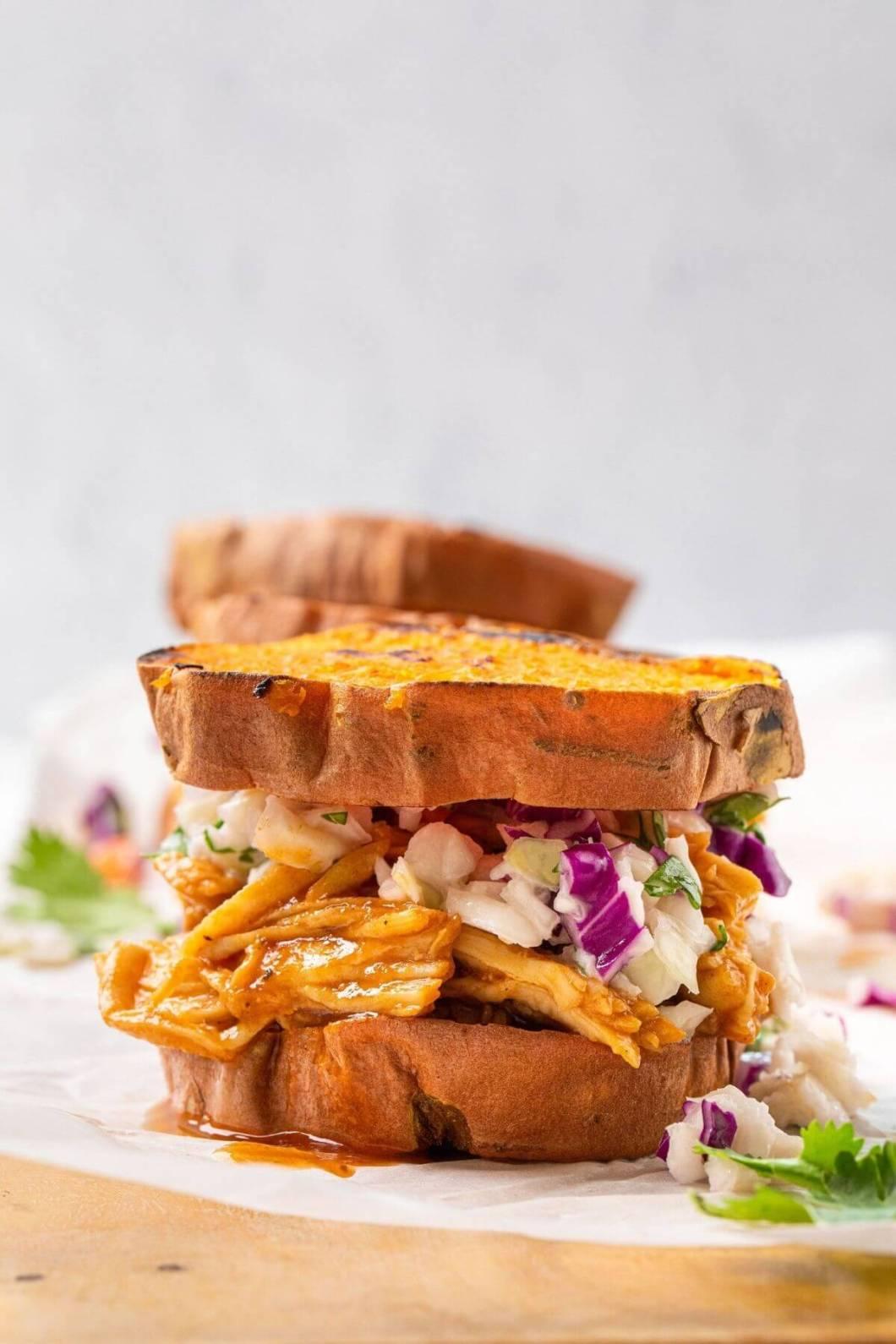up close BBQ chicken sweet potato slider with fresh no-mayo coleslaw