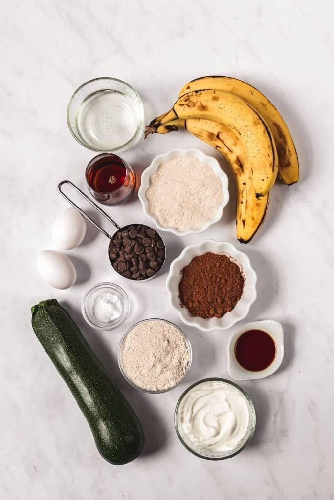 Ingredients in super moist healthy double chocolate zucchini banana bread