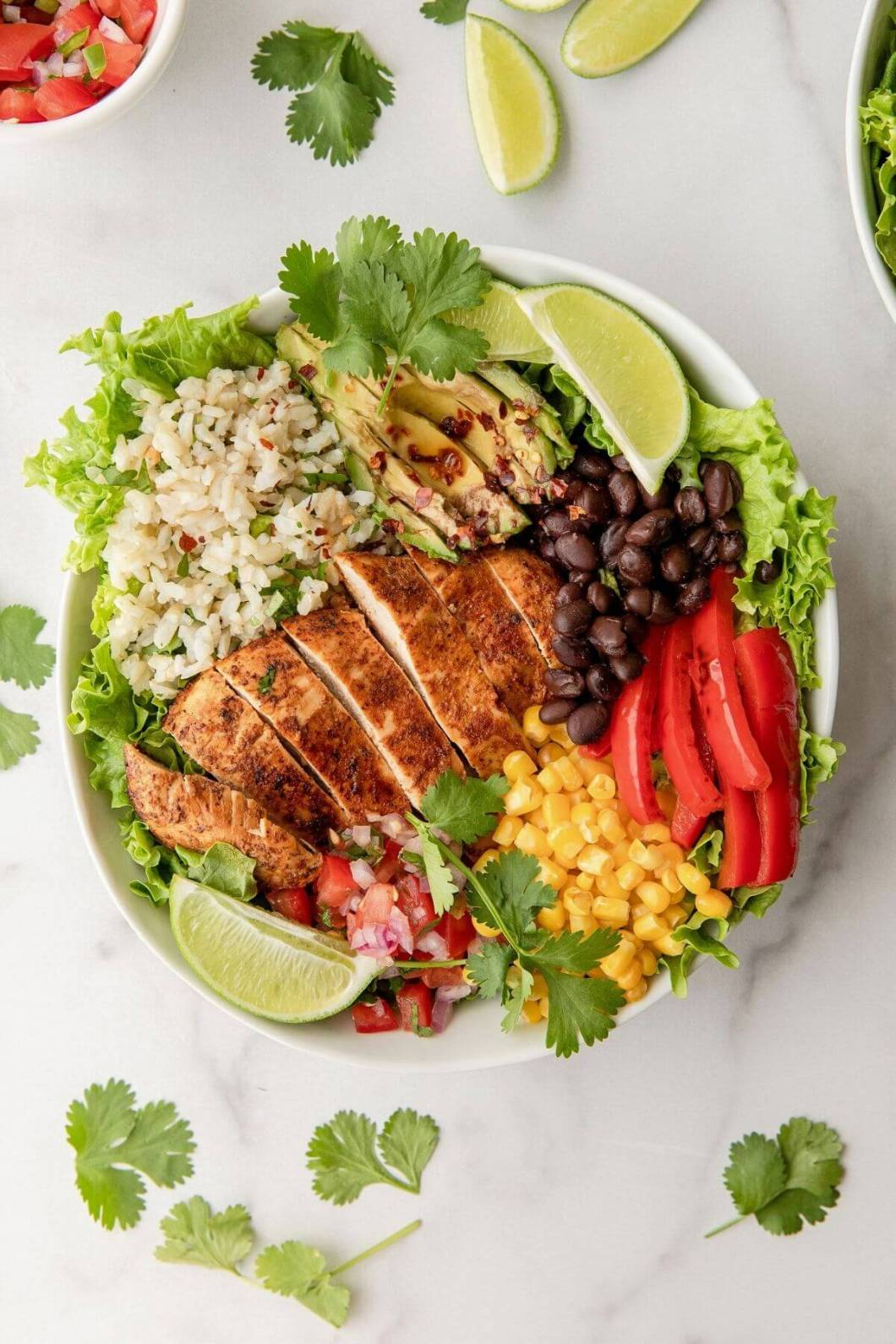 Easy Mexican chicken and rice burrito salad bowl