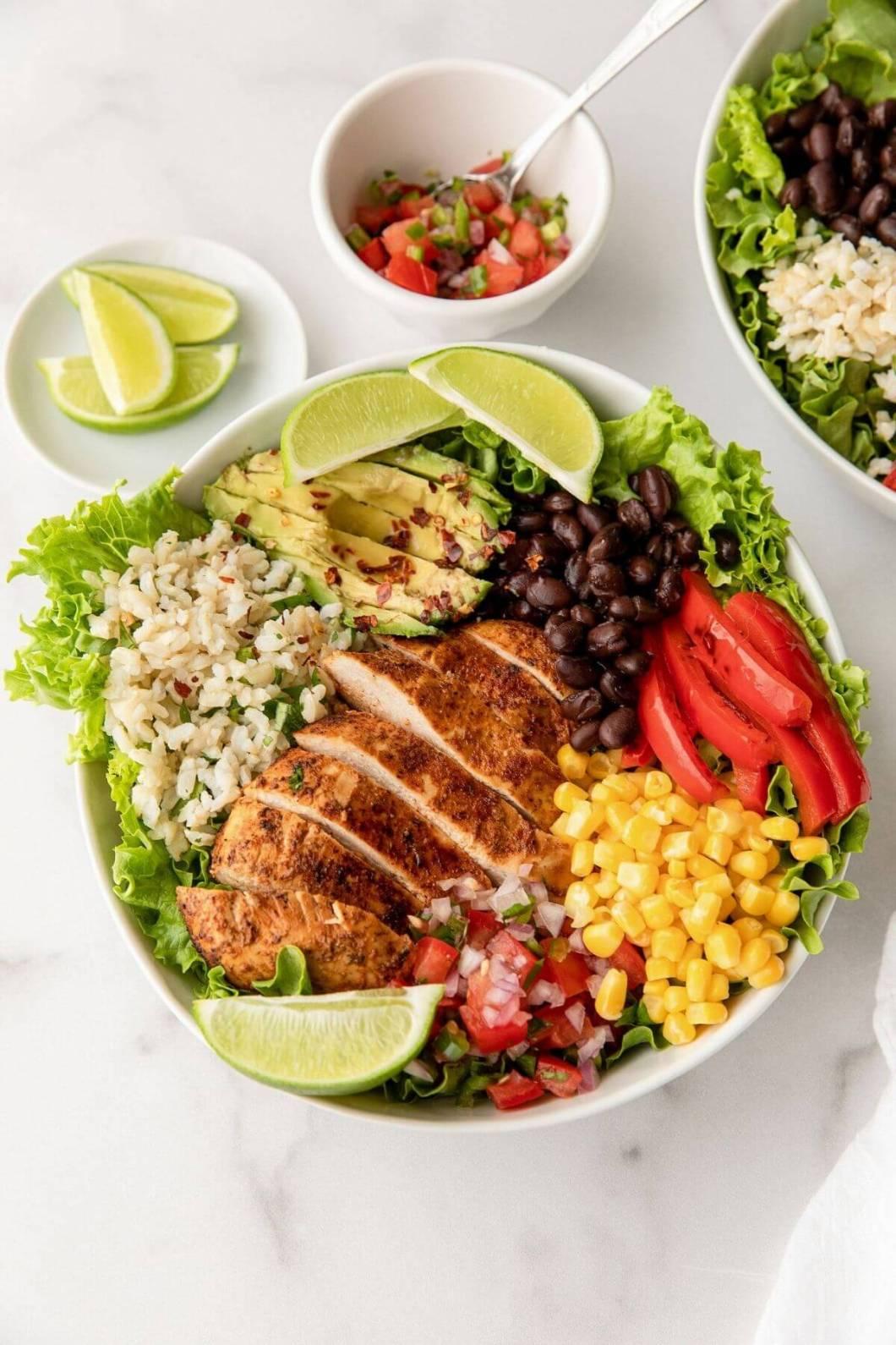 loaded healthy Mexican chicken burrito salad bowl