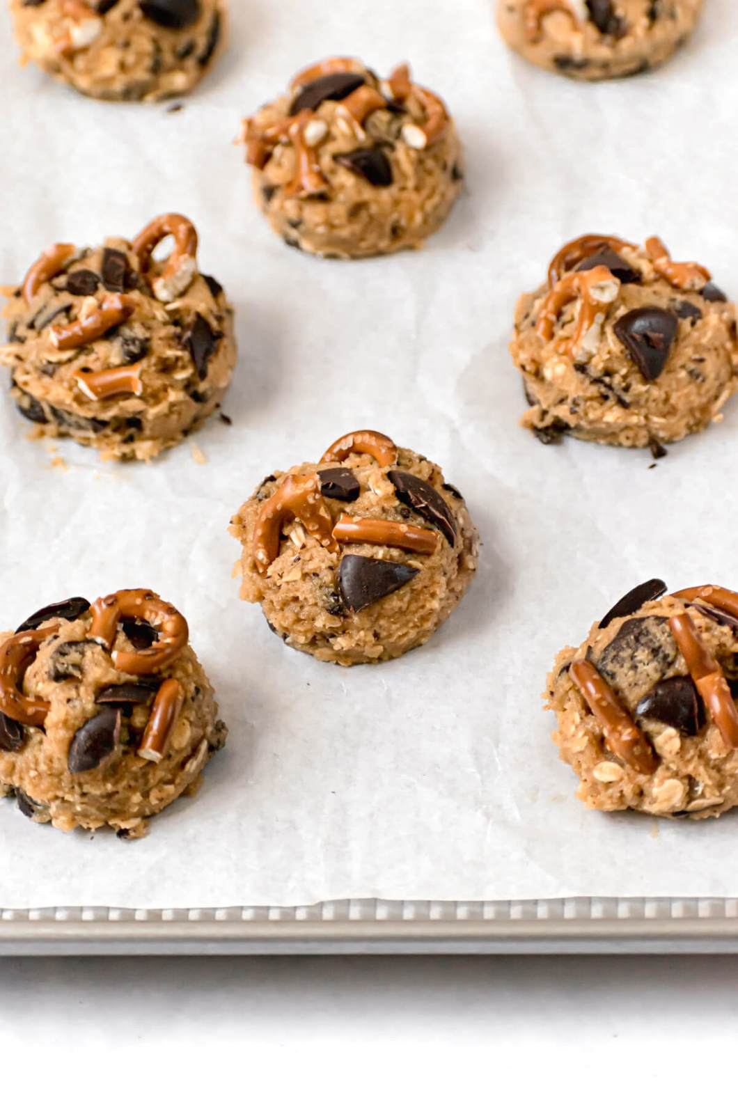 healthy salted cowboy cookie dough balls before baking