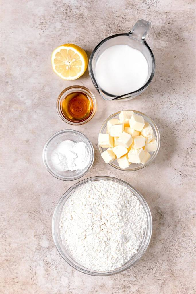 ingredients in fluffy Southern almond milk biscuits