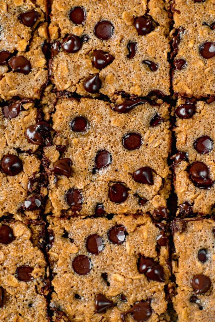 close up of healthy chocolate chip oatmeal bars