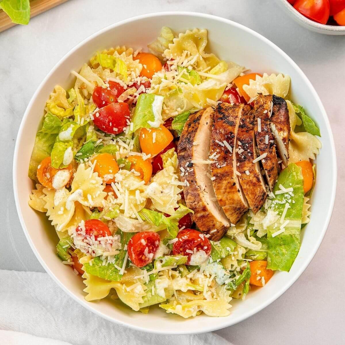 healthy balsamic chicken caesar pasta salad