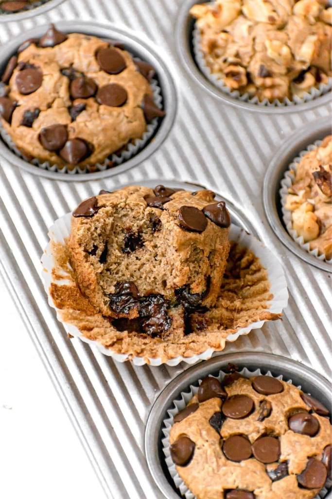 fluffy chocolate chip baked oatmeal muffin
