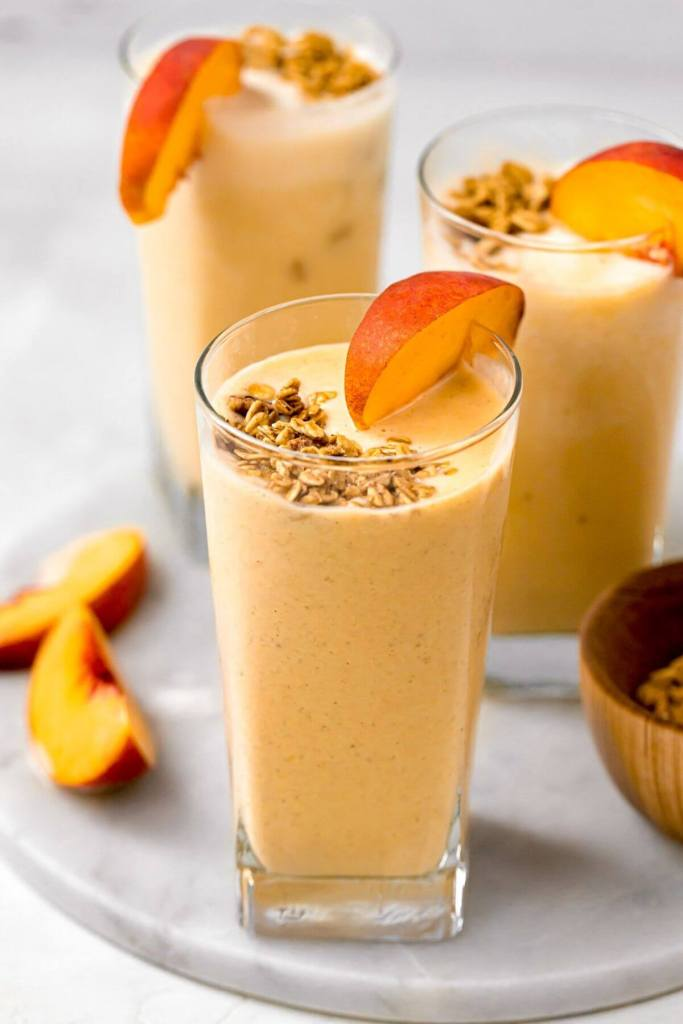 peach smoothie in a glass