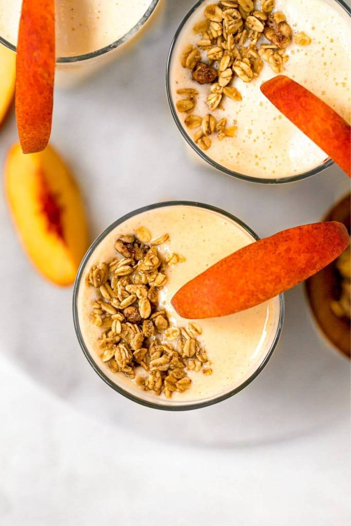 healthy smoothie with granola on top