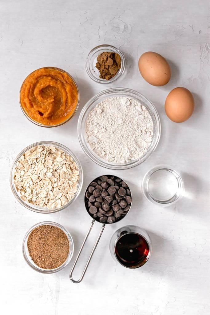 ingredients in healthy pumpkin bars