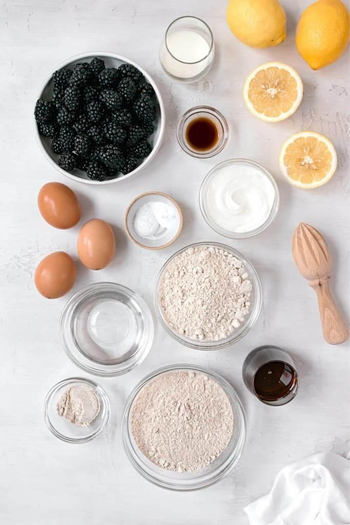 ingredients in lemon blackberry bread