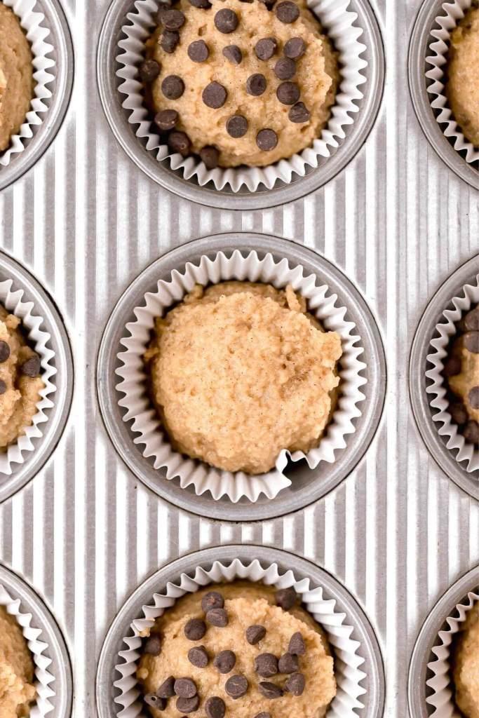 almond flour banana muffin batter in cupcake tin