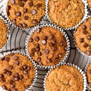 gluten free almond flour banana muffins with chocolate chips