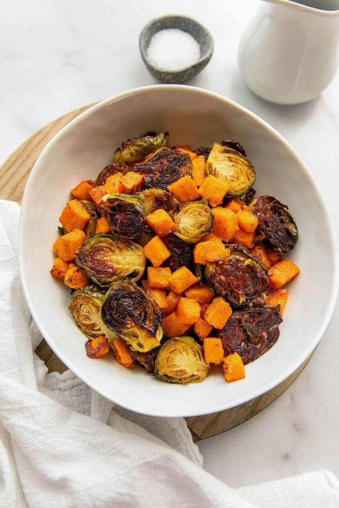 cinnamon maple sweet potato and brussel sprouts