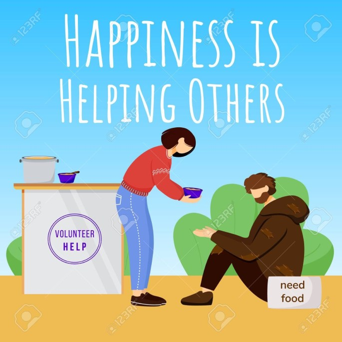 Happiness is helping others social media post mockup. Charity advertising web banner design template. Social media booster, content layout. Promotion poster, print ads with flat illustrations