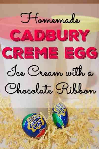 Homemade Cadbury Egg Ice Cream with a Chocolate Ribbon
