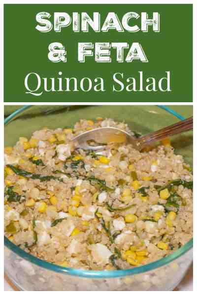 A fresh and gluten-free quinoa salad. Packed with veggies, including spinach, corn, peppers, and scallions, and then topped with feta.