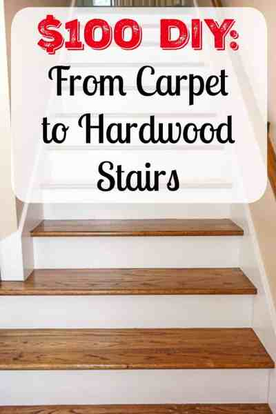 $100 DIY: From carpet to stunning hardwood stairs. See the full tutorial for how we made this transformation on a low budget.