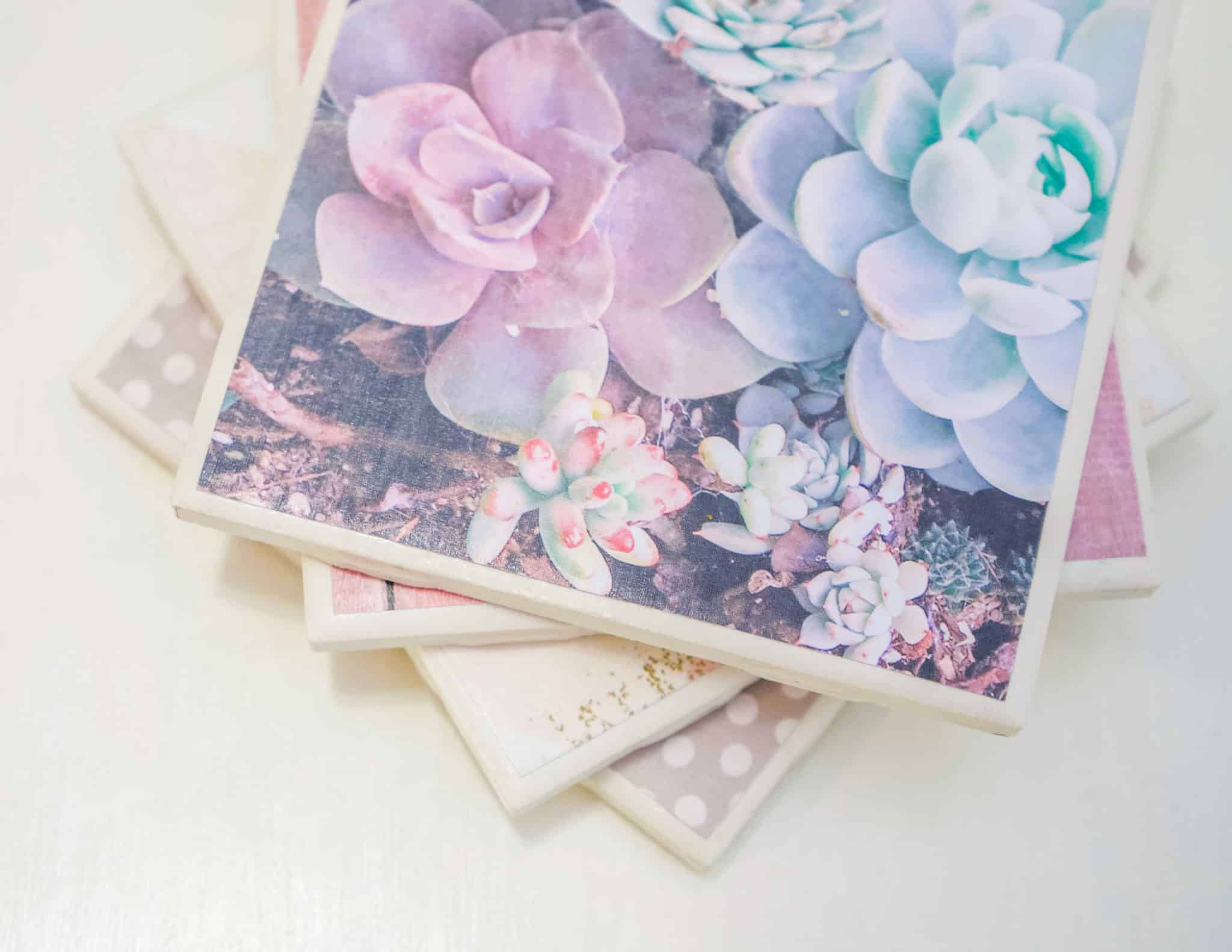 These adorable DIY ceramic tile coasters are so easy to make, you won't believe it! They are totally functional, completely adorable, AND they make fabulous inexpensive gifts. What more could you as for?!