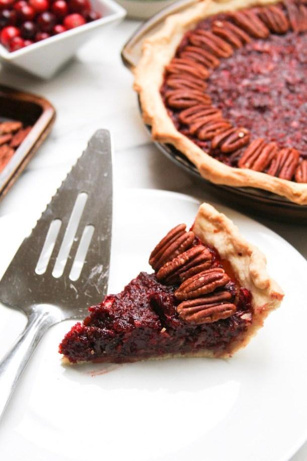 Vegan Cranberry Pecan Pie w/ Candied Pecans