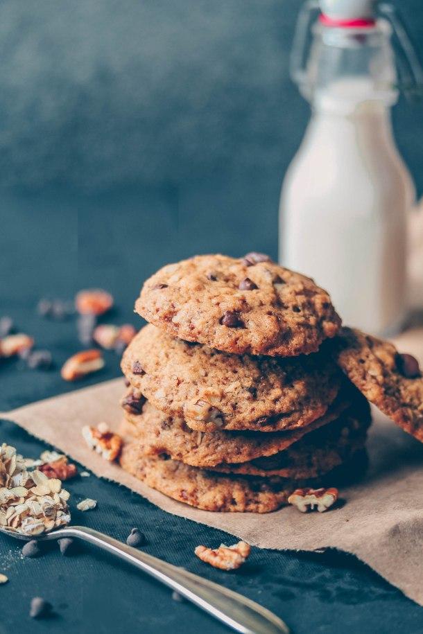 Vegan Oatmeal Chocolate Chip Pecan Cookies