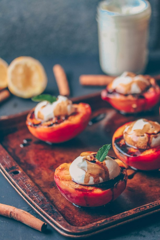 Grilled Peaches with Vegan Vanilla Bean Cream & Balsamic Reduction