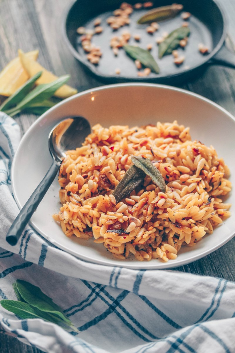 Lemon Orzo with Crispy Sage