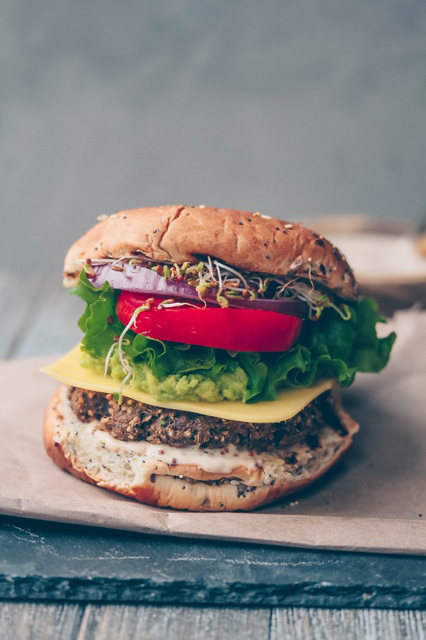 The Best Veggie Burger with Grainy Mustard Aioli​