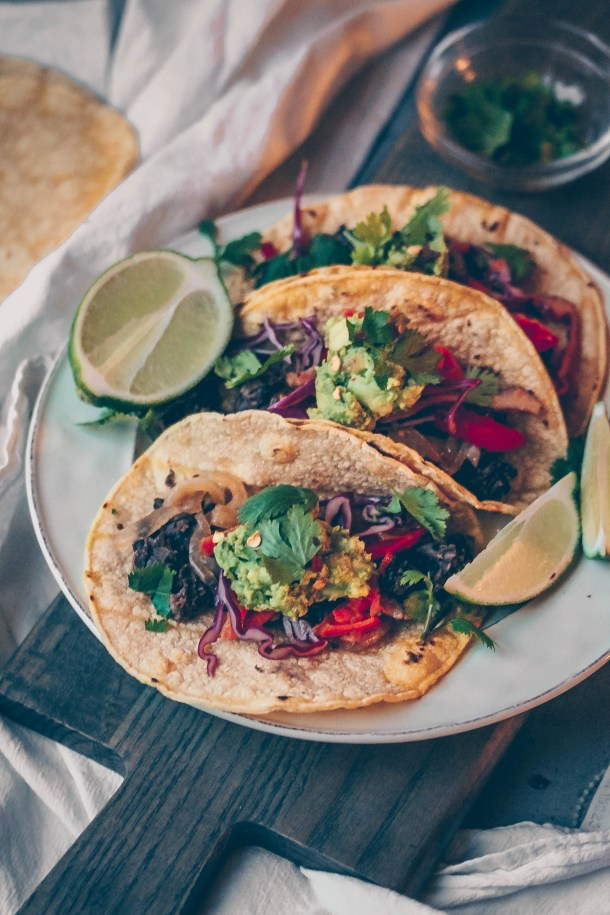 30-minute Black Bean Fajita Tacos w/ Cabbage Slaw
