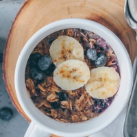 Microwave Blueberry Baked Oatmeal in a Mug