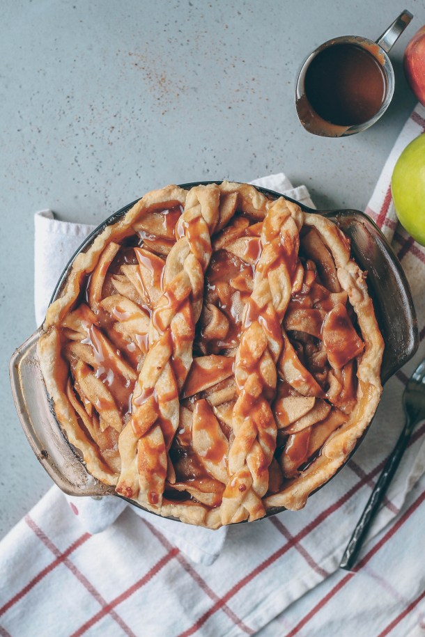 Vegan Apple Pie with Salted Caramel